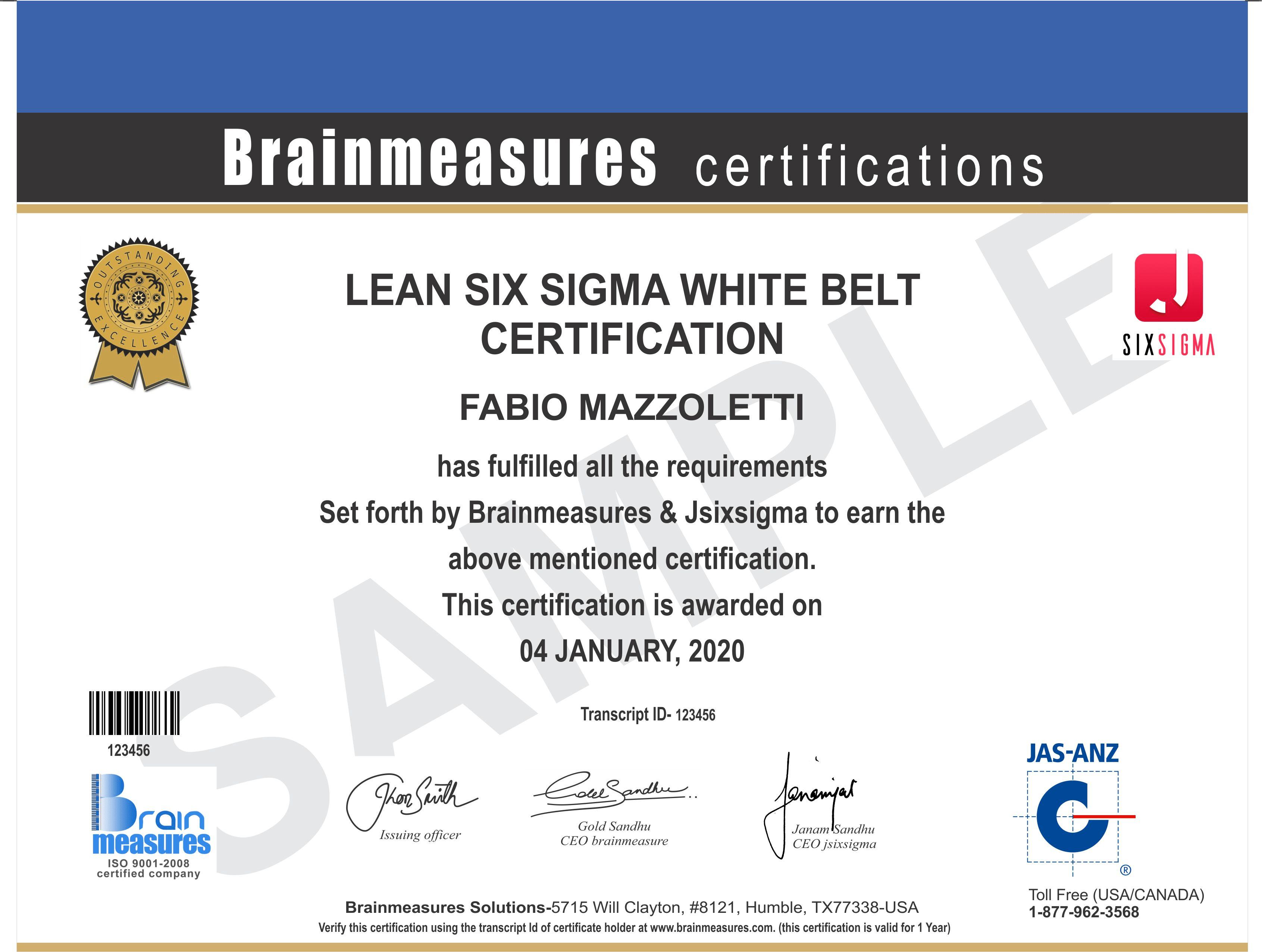 Lean Six Sigma White Belt Course l Certification l Training